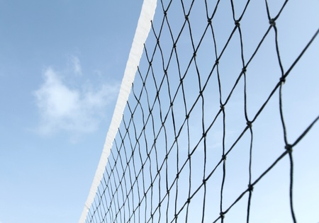 Tennis or volleyball net against blue sky Stock Photo