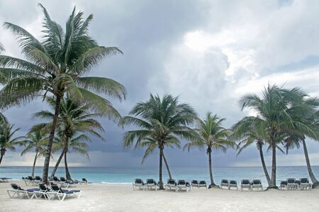 riviera maya: Tropical storm on an empty white sand beach, ocean and palm trees in Mexico, Riviera Maya Stock Photo