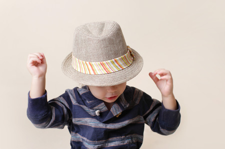 Child in fedora fat, fashion or clothing concept photo