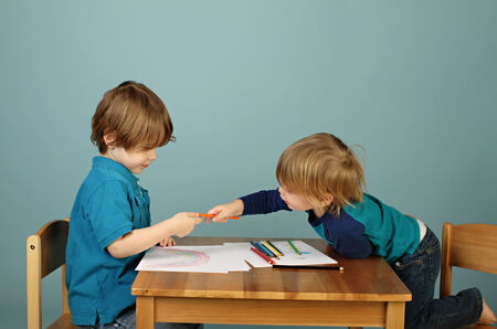 kids class: Concept of preschool, kids education, learning and art, child drawing in class