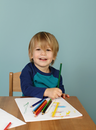 Concept of preschool, kids education, learning and art, child drawing in class