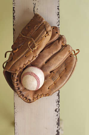 mitt: Used, worn out baseball and glove or mitt, copyspace