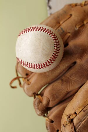 pastimes: Used, worn out baseball and glove or mitt, copyspace