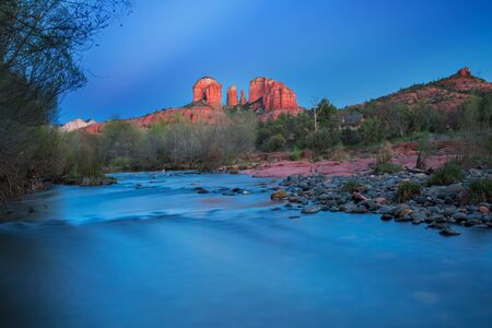 View of red rocks and river at the famous Castle Rock in Sedona, Arizona, AZ, an American landmark