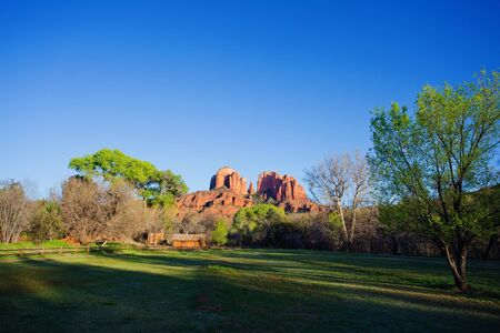 View of red rocks at the foot hills of the famous Castle Rock in Sedona, Arizona, AZ, an American landmark Фото со стока