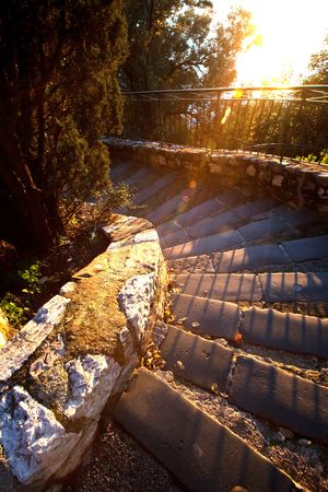 Stairs during sunset