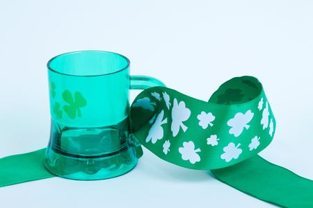 St Patrick Beer mug and ribbon Stock Photo