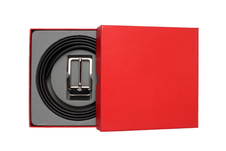 Men's belt in the red box, isolated on white background.