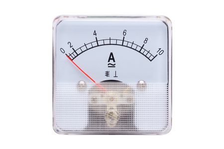 analog: Analog ammeters isolated on white background. Stock Photo