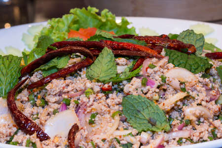 minced: Spicy minced pork , Spicy minced pork salad. (Thai food) Stock Photo