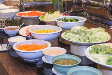 line lines luxury meeting: Thai food on the table in hotel. Stock Photo