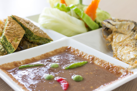 Chili paste with fried mackerel and vegetable Thai food.(Soft focus) Reklamní fotografie