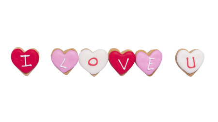I Love You - Heart shaped cookies on white background.
