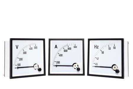 Analog voltmters,ammeters,hertz meter(Hz.)isolated on white background.