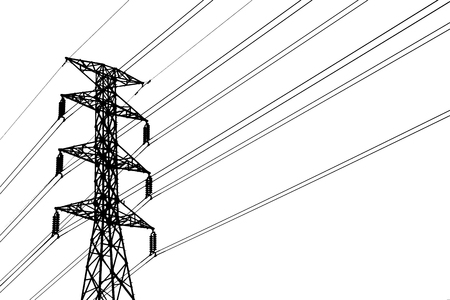 Silhouette of  high voltage post( High-voltage tower, Grid Utility ) isolated on white background. Reklamní fotografie