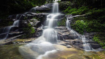 Monta-Than waterfall in Doi Suthep-Pui National Park, Chiang Mai, Thailand (In dark tone) Reklamní fotografie