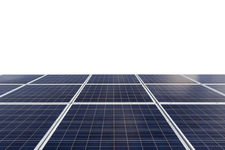 Blue photovoltaic solar panels on rooftop isolated on white background.( With clipping path.)