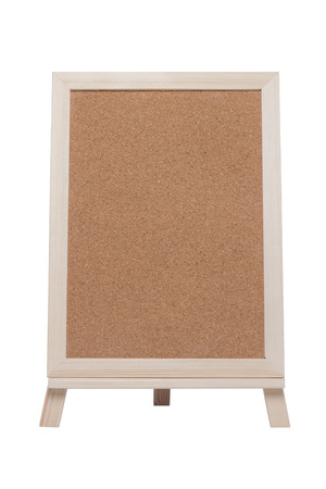 Blank cork board with picture frame stand isolated on white background.( With clipping path.)