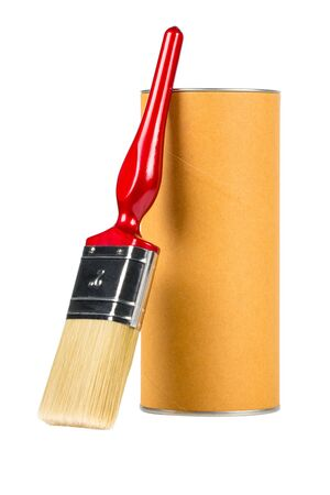 Paint brush and cylinder container isolated on white background.For your product.( With clipping path.)
