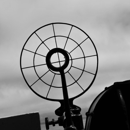 Artillery sight on military ship