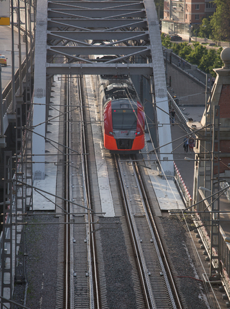 cip: Moscow, MCC, train Swallow, Andreevsky Bridge, near the RAS Presidium, summer, view from above, from the observation deck, July 9, 2017 Editorial