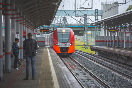 cip: Moscow, Shelepikh station, the train arrives at the station, model of the train - Swallow, city, day, summer July 7, 2017