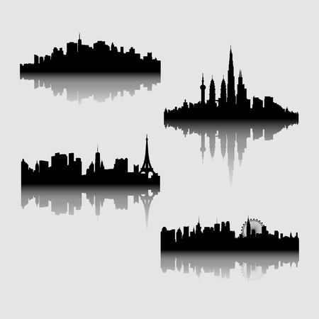 Vector illustration - the silhouette of the city in a flat style. Modern urban landscape.