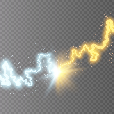Vector illustration. Collision of two forces of blue and gold magical plasma. Allocation of cold and hot energy. Electric collapse. Flash of two lightning isolated on a transparent background.