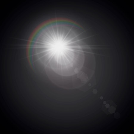 Vector illustration of a morning star with a glow effect. The effect of a flash of light. Lens flare. Rainbow light.