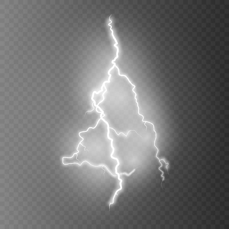 Vector illustration.Transparent light effect of electric lightning. The indomitable power of natural energy.