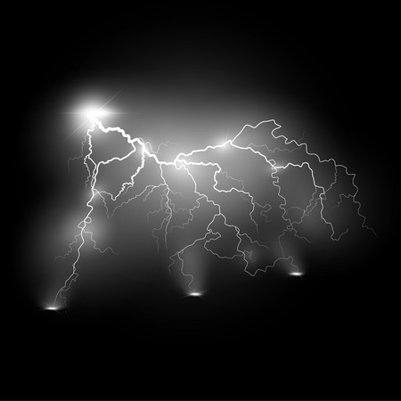 Vector illustration.Transparent light effect of electric lightning.The indomitable power of natural energy