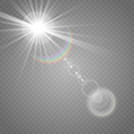Vector illustration of a morning star on a transparent background with a glow effect. The effect of a flash of light. Lens flare. Rainbow light. Vettoriali
