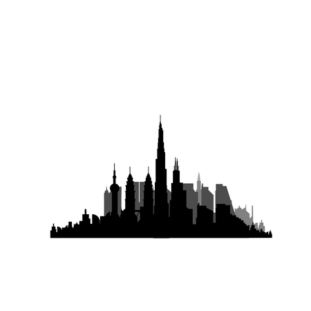Vector illustration - The silhouette of the city in a flat style. Vettoriali