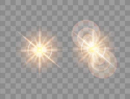 Vector illustration. Set of a morning star on a transparent background with a glow effect. The effect of a flash of light.