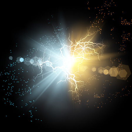 Vector illustration. Collision of two forces of blue and gold magical plasma. Allocation of cold and hot energy. Electric collapse. Flash of two ball lightning isolated on a transparent background. Vettoriali