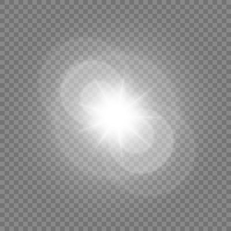 Vector illustration of a morning star on a transparent background with a glow effect. The effect of a flash of light. Vettoriali