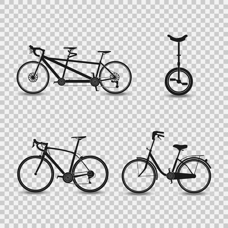 Set of bikes icons.Vector illustration on the transparent background.