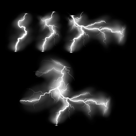 Vector illustration. Set of ransparent light effect of electric lightning. The indomitable power of natural energy