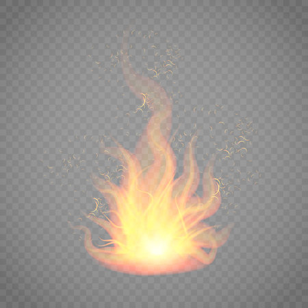 Vector illustration of a flaming bonfire. Fire tongues on a transparent background. effect of unbearable heat. Thermal energy flash. Archivio Fotografico - 110864155