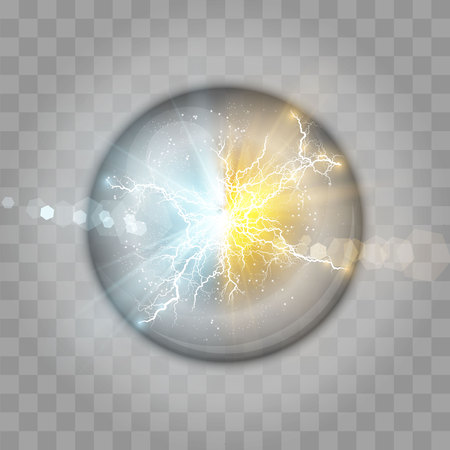 Vector illustration. Transparent light effect of electric ball lightning. Magic plasma ball. Collision of two forces of blue and gold magical plasma. Allocation of cold and hot energy. Standard-Bild - 110864250
