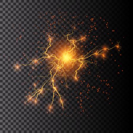 Vektor-Illustration. Transparenter Lichteffekt des elektrischen Kugelblitzes. Magische Plasmaenergie.