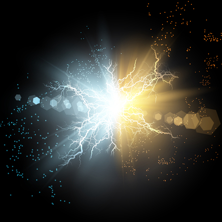 Vector illustration. Collision of two forces of blue and gold magical plasma. Allocation of cold and hot energy. Electric collapse. Flash of two ball lightning isolated on a transparent background. Çizim