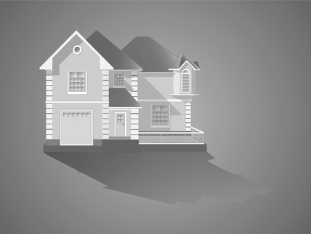 Vector illustration - the facade of a suburban family house Иллюстрация