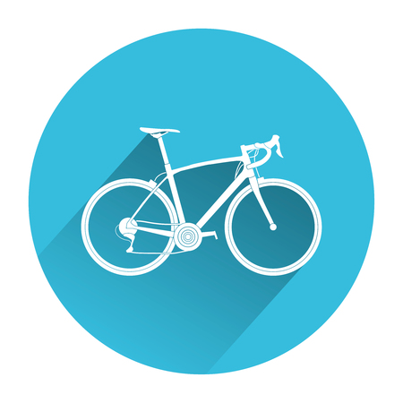Touring bicycle icon. Blue bike Icon Vector Archivio Fotografico - 123658149