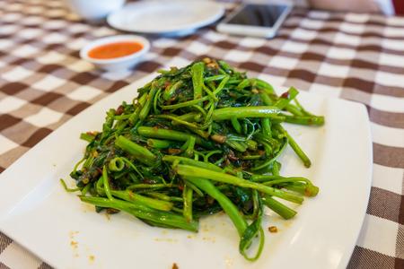 sambal: Stir Fried Water Spinachon or Sambal Kang Kong in Singapore.