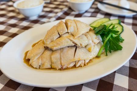 Steam Chicken with Rice Hainan Chicken in Singapore.