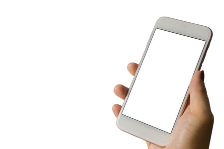 woman's hand shows mobile smartphone with white screen in vertical position isolated on white background - mockup template and clipping path