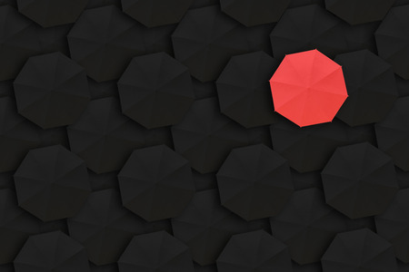 dissimilarity: Concept of Leadership, Different and Distinction.Red umbrella and many black umbrellas around