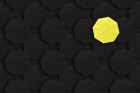 dissimilarity: Concept of Leadership, Different and Distinction.Yellow umbrella and many black umbrellas around