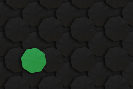 dissimilarity: Concept of Leadership, Different and Distinction.Green umbrella and many black umbrellas around